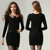 Peter pan Collar Long Sleeve Women Dress Plus Size Clothing Slim Fit #SN1003