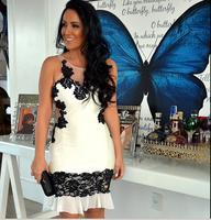2015  women  new transparent black lace mesh stitching Slim white dress