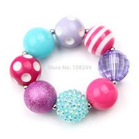 10pcs/lot New Arrival Rhinestone Inspired Solid Chunky Beads Bracelet Bubblegum Bracelet DIY Girls Jewelry