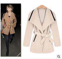 2015 winter women's slim  female cloth long lapel woolen coat belt
