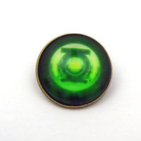 New Arrival 2 Color Marvel Super Hero Brooch Green Lantern Glass Cabochon Brooch With Pin