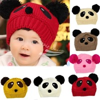 Cute Panda Pattern Baby Love Dual Ball Toddler Girls/Boys Wool Knit Sweater Cap Hat