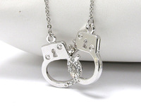 One piece 3.5cm rhodium plated alloy fashion handcuffs pendant necklace free shipping xy111-1