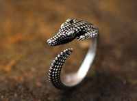Hot Sale Wild  Crocodile Animal Wrap Ring -Silver For Woman Unique Rings