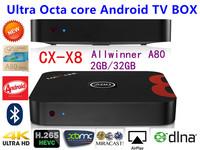 CX-A99 Allwinner Ultra Octa core A80 Android TV BOX 2GB RAM 32GB ROM android 4.4 AP6330 Wifi 4K XBMC smart tv Freeshipping