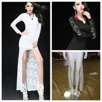 2014 Novelty Woman Black/White V-Neck Slim Bodycon Lace Dress Maxi Long Sleeve Party Elegant Vestidos Cut Out Sexy Bandage Dress