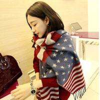 2014 New Fashion Winter Star-Spangled Banner Scarf For Women Warm Soft Flag Shawl Scarves