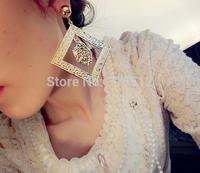 Vintage punk lion head design dangling earrings big metal square pendants cheap statement earrings fashion jewelry for women