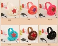 5 pieces Multifunctional winter Fashion colorful stars Plush Music headphones wire fur Ears warm Earmuffs Phone Headset
