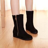 2015Large size autumn elegant shoes women  mid-calf round toe increased internal zip tassel bootsZ1JJ-2-3