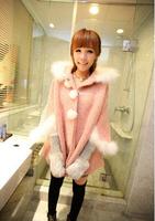 2014 Women Coat Hot Sale New Autumn/Winter Korean Sweet Style Rabbit Fur Collar Cape Overcoat Bat Sleeve Coat Free Shipping
