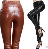 Women PU High Waist Leather Leggings casual  slim pencil Pants Plus Size Women Clothing Skinny Sexy Girls Pants s329