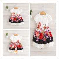 Hu sunshine wholesale new 2014 fashion high quality Kids summer short-sleeve cotton Princess floral Dress WW11272587H