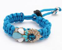 2014 Vintage Fashion Acrylic Flower Charm Bracelet Hand - Woven Rope Bracelets & Bangles Adjustable bijoux women SL106860