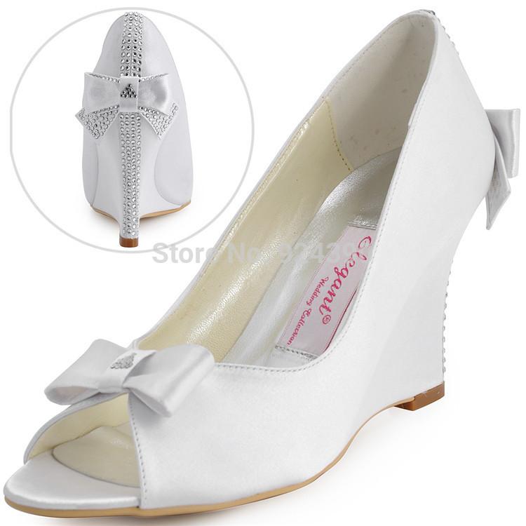 EP41020 Sweet Woman White Peep Toe Bow Rhinestone Satin Wedding Wedges Bridal Shoes Free Shipping US(China (Mainland))