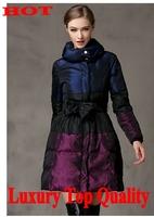 luxury  fashion2014 New women winter jacket Long Style  Zipper warm Slim Hooded coat Women duck down jacket winter dress D2080