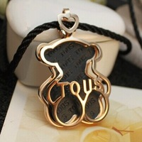 14k rose gold plated black rope bear sweater necklace