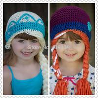 Hot 2014 Cute Kids Children Beanie Girl Winter hat Casual Elsa Anna Cartoon Frozen Knitted Wool Cap Skullies Beanies Hats
