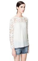Women Blouse Lace Chiffon Long Sleeve Woman's Tops 2015 White Shirt Hollow Out S/M/L European Style Famous Brand CL792