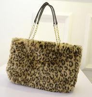 Free Shipping Fashion Faux Fur Totes Large Big Winter Women Furry Shouder Bags Chian Handbags