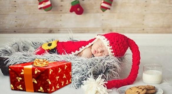 New cute newborn baby crochet knit hat Santa hat Christmas photography props 0-6 months 18898(China (Mainland))
