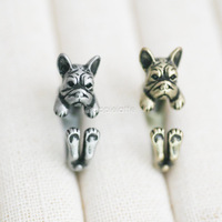 Hot Sale French Bulldog Animal Wrap Ring -  For Woman Unique Rings Free Shipping