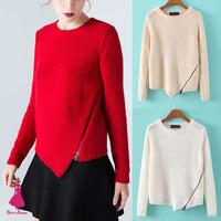2014 Winter Trendy Women O-Neck Diagonal Zipper Irregular Asymmetrical Hem Jumper Knit Long Sleeve Pullover Leisure Sweater Tops