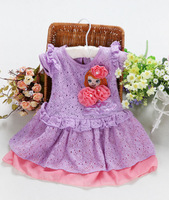 Retail free shipping 2014 short cotton purple Pretty girl avatar pierced floral girl children dress  2-6 years A-08