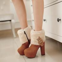 2014 New Retro British Style Elegant Noble Lady  Martin Boots Belt Buckle Plush Coarse Heel Warm Middle Boots