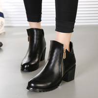 new arrival Plush shoes Winter Fashion Ankle Boots martin Boots high quality soft leather pointed toe square heels side zipper