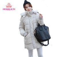 Plus Size European Women Winter Down Jacket Long Sleeve Zippers Ladies Parkas Outerwear Beige Black Womens Down Coats C12961