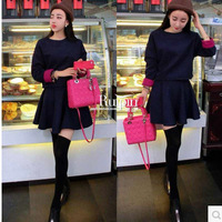 Europe and America to fight new winter woolen coat color cuff + A word skirt suit  free shipping