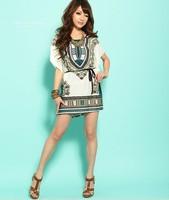 Top Quality  Women Summer bohemian Dress Batwing Sleeve Dress Beach Clothing Vintage Mini Sun dress with belt