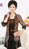 new antumn hot women Middle-aged silm leopard with sashes windbreaker plus size trench coat outwear 3XL-5XL