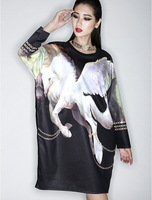 women's autumn spring kroean 3D Wing Flying horse sweashirts female oversize loose pullover bottoming Plus velvet sweater
