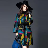 2014 112533   fashion rose buckle color block geometry print slim wool overcoat