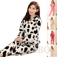 women's autumn winter coral fleece padded cartoon cute flannel pajamas cow clothing set sweet twinset nightwear sleepwear