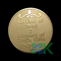 Free shipping Servant of Christ gold plated coin for Steward of God's gift  5pcs/lot 40*3mm
