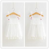 Hu sunshine wholesale new 2014 fashion Summer  new girls cotton white lace sling dress WW11272601H