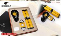 COHIBA cigar tool set (cigar tube+ashtray+cutter)w/ black gift box  -free shipping