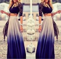 014 Free shipping Fashion gradient color high waist skirt women casual dress vestidos femininos roupas femininas