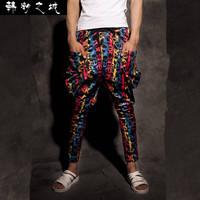 sarouel baggy tapered bandana pants hip hop dance harem sweatpants drop crotch pants men parkour sport track tapered trousers