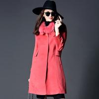 112507   Fashion luxury 2014 brief high quality cashmere fox fur slim overcoat