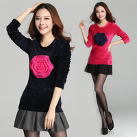 2015 Spring Autumn Women Korea Slim Long Sleeve Big 3D Rose Gold Velvet T-Shirt Green/ Blue/ Yellow/ Red