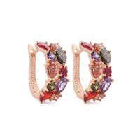 2015 Top Sale New Flower Earrings Gold /Gold Plt  Multicolor Cubic Zircon Stud Earrings For Women