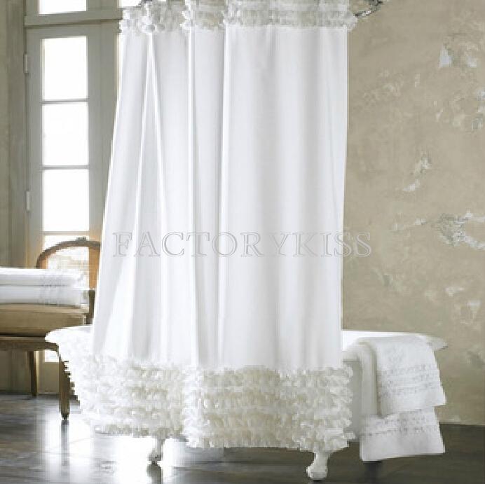 Cortina Baño Elegante:Ruffle Shower Curtain