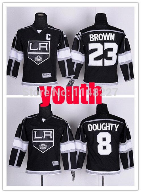 Youth Los Angeles Kings Jerseys #23 Dustin Brown 8 Drew Doughty Jersey Kids LA Kings Home Black Hockey(China (Mainland))