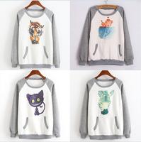 [Alice]fleece inside warm winter cotton hoodies 15 models cartoon Digital Print casual sweatshirt one size free shipping