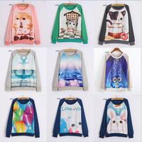 [Alice]Hot ! lovely cartoon/Animal print sweatshirts women oneck long sleeve cotton hoodies casual sweatshirt one size 21models