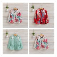 Hu Sunshine wholesale 2014 new arrival Autumn Chiffon Girls long-sleeved cotton Blouses  WW11272593H